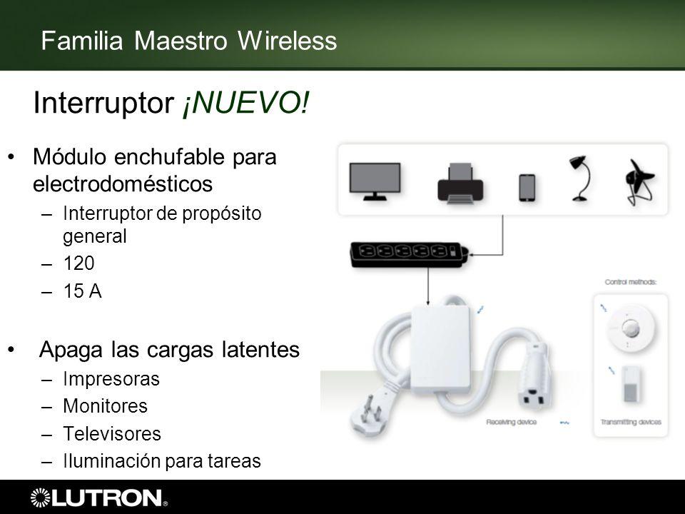 Familia Maestro Wireless Interruptor ¡NUEVO! Módulo enchufable para electrodomésticos –Interruptor de propósito general –120 –15 A Apaga las cargas la