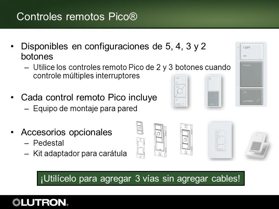 Controles remotos Pico® Disponibles en configuraciones de 5, 4, 3 y 2 botones –Utilice los controles remoto Pico de 2 y 3 botones cuando controle múlt