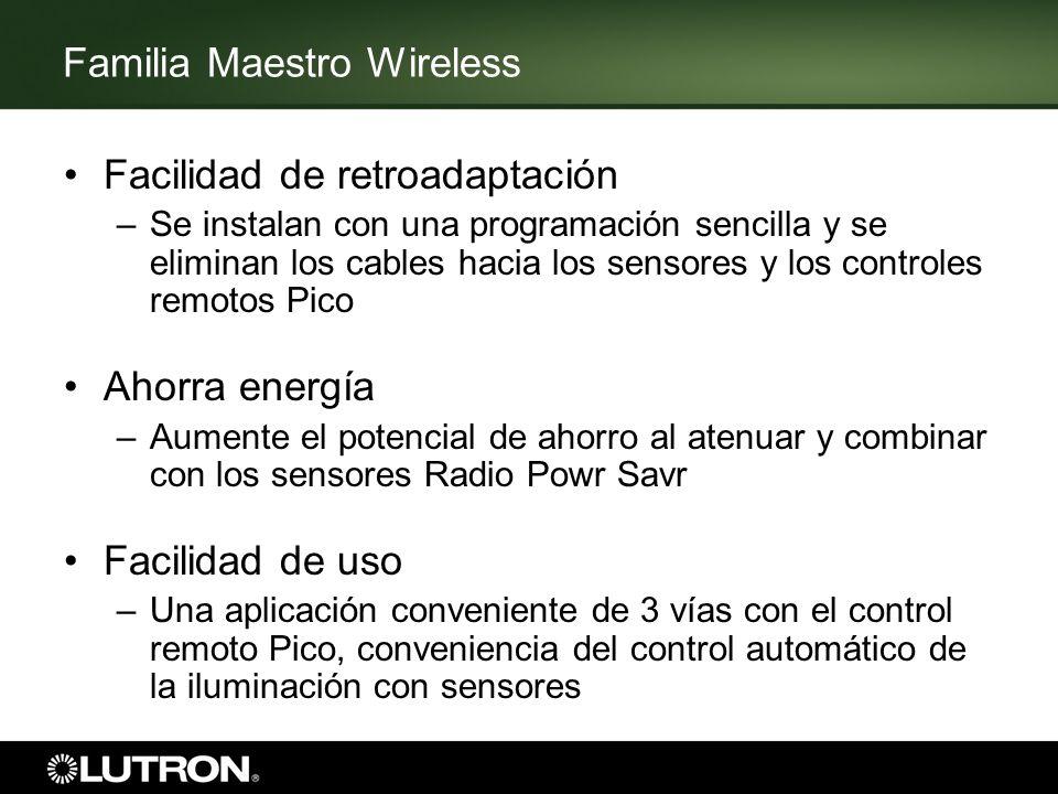 Familia Maestro Wireless Control de una sola área Todos los dispositivos deben estar instalados dentro de una burbuja de 18 metros (60 pies) de diámetro –9 metros (30 pies) a través de las paredes No se requiere un repetidor ni un procesador Máximo de 10 dispositivos –Los dispositivos incluyen cualquier atenuador, interruptor, sensor Radio Powr Savr o controlador remoto Pico –Los interruptores y los atenuadores complementarios no se incluyen en el conteo del límite de dispositivos 9 m9 m