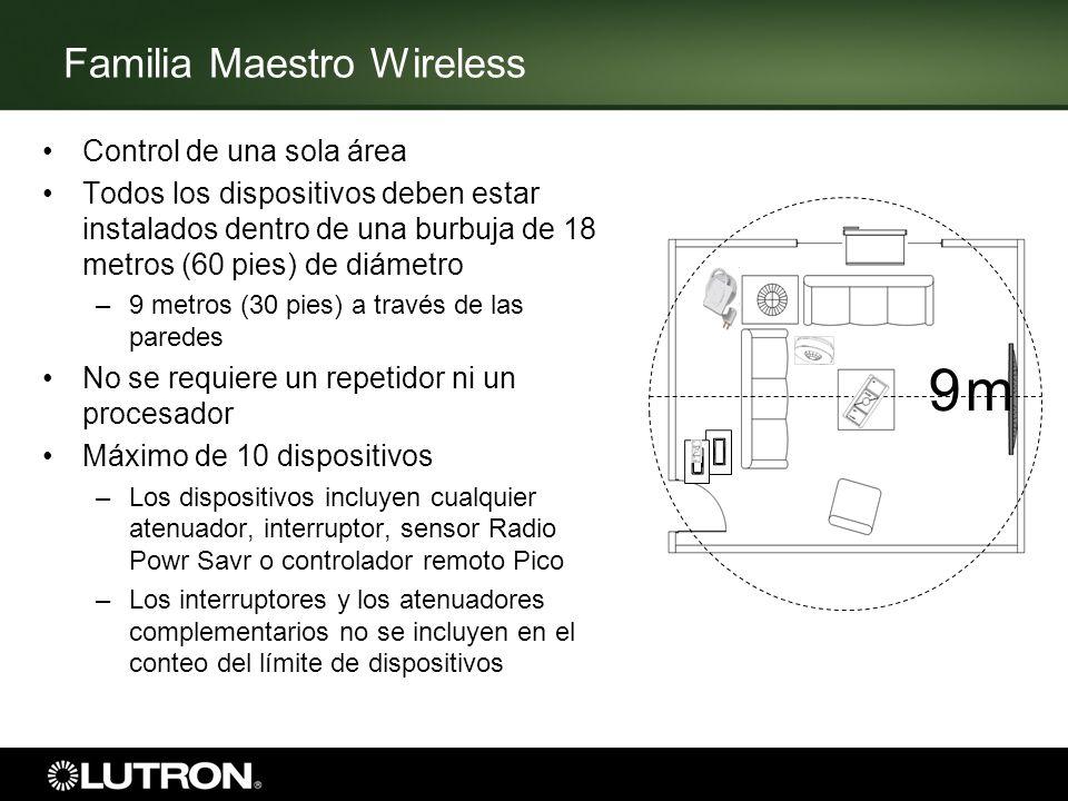 Familia Maestro Wireless Control de una sola área Todos los dispositivos deben estar instalados dentro de una burbuja de 18 metros (60 pies) de diámet