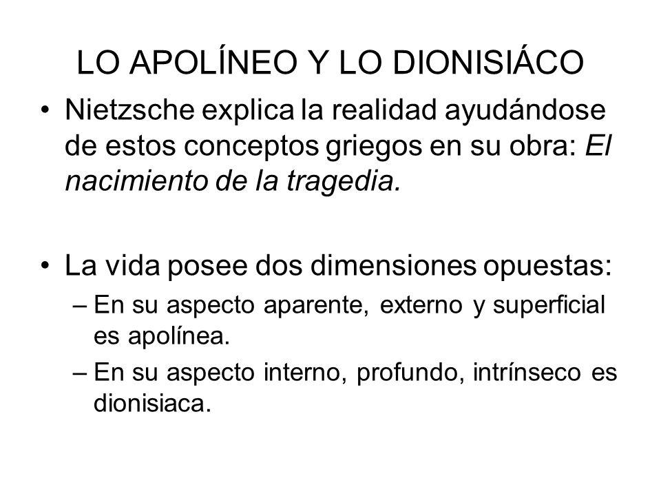 LO APOLÍNEO Y LO DIONISIÁCO Nietzsche explica la realidad ayudándose de estos conceptos griegos en su obra: El nacimiento de la tragedia. La vida pose