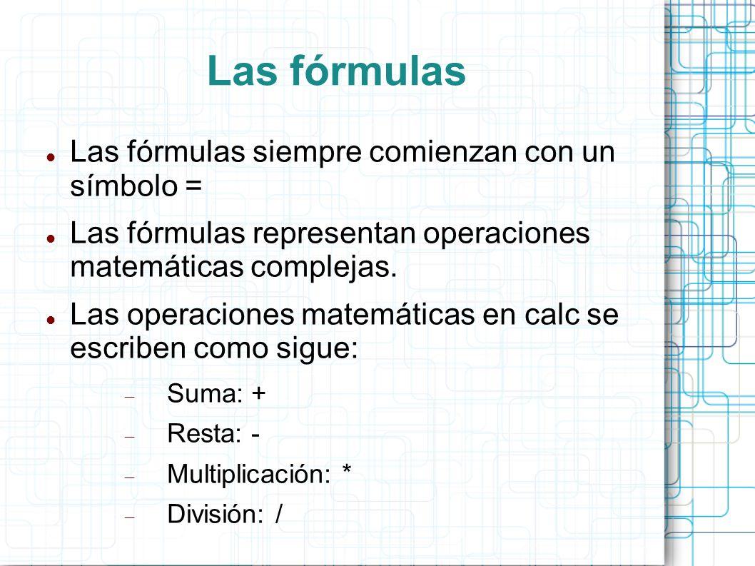 Las fórmulas Las fórmulas siempre comienzan con un símbolo = Las fórmulas representan operaciones matemáticas complejas. Las operaciones matemáticas e