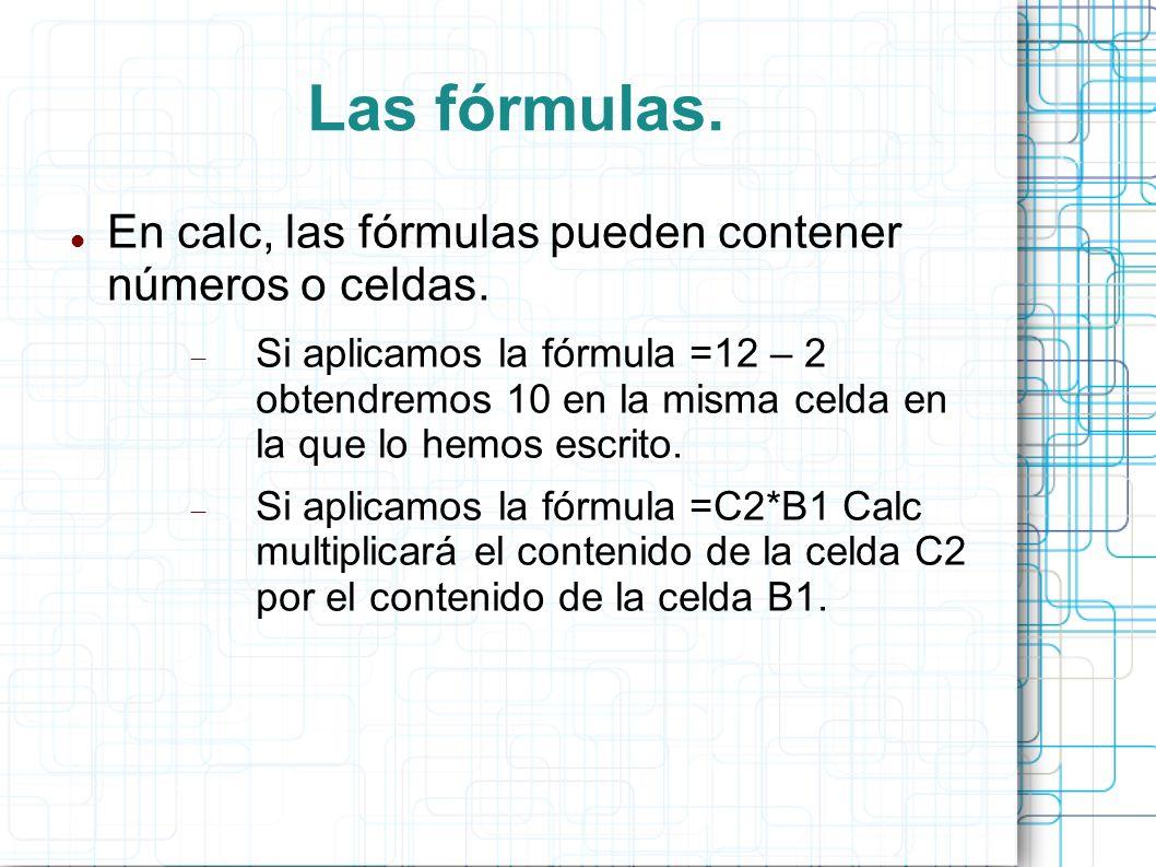 Las fórmulas. En calc, las fórmulas pueden contener números o celdas. Si aplicamos la fórmula =12 – 2 obtendremos 10 en la misma celda en la que lo he