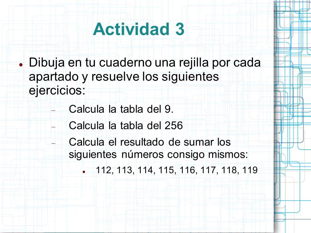 Actividad 3 Dibuja en tu cuaderno una rejilla por cada apartado y resuelve los siguientes ejercicios: Calcula la tabla del 9. Calcula la tabla del 256