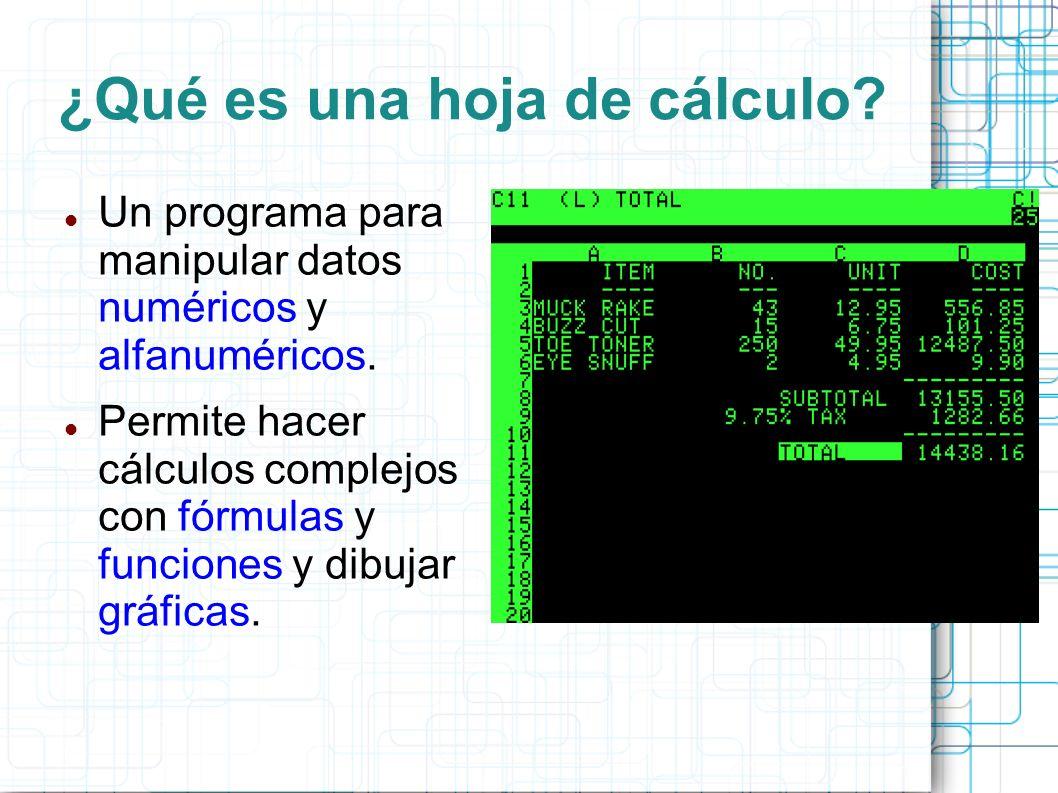 ¿Qué es una hoja de cálculo? Un programa para manipular datos numéricos y alfanuméricos. Permite hacer cálculos complejos con fórmulas y funciones y d