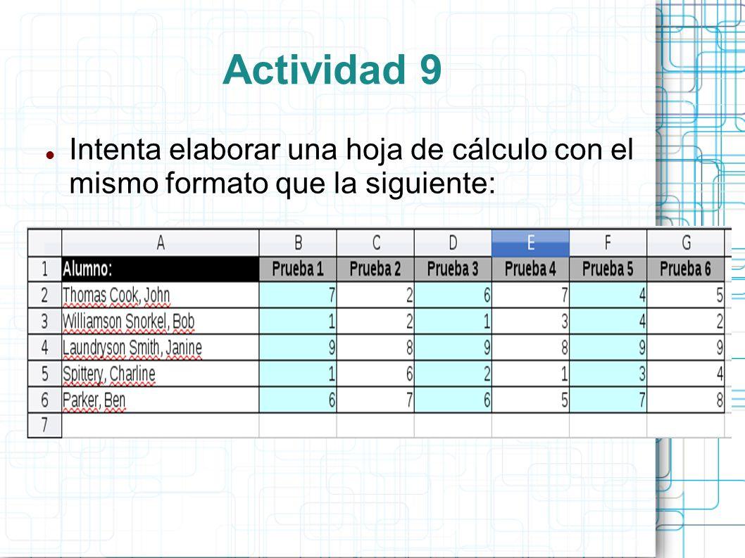 Actividad 9 Intenta elaborar una hoja de cálculo con el mismo formato que la siguiente: