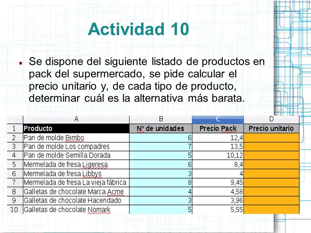 Actividad 10 Se dispone del siguiente listado de productos en pack del supermercado, se pide calcular el precio unitario y, de cada tipo de producto,