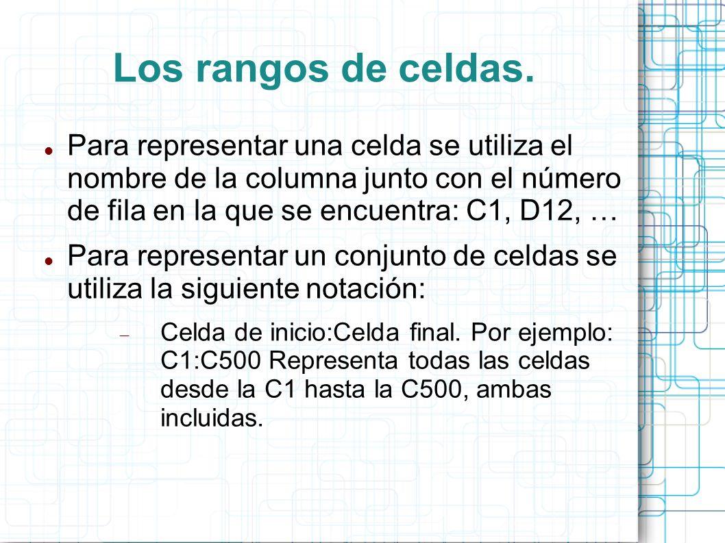 Los rangos de celdas. Para representar una celda se utiliza el nombre de la columna junto con el número de fila en la que se encuentra: C1, D12, … Par