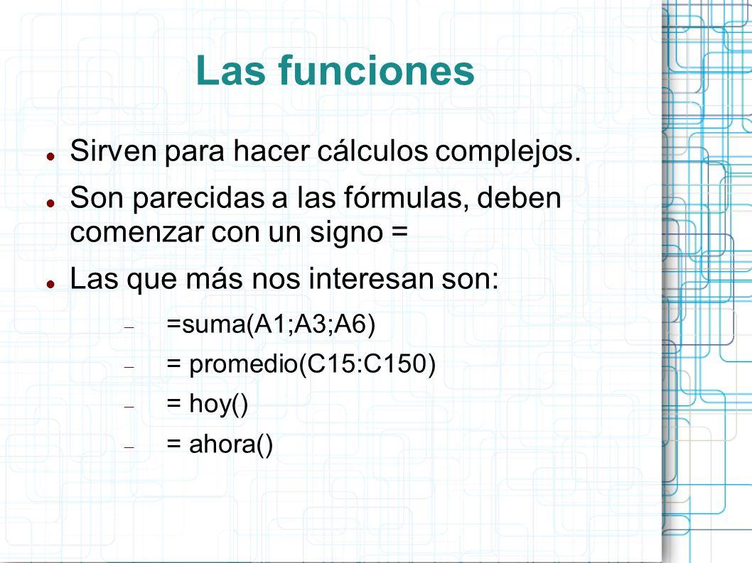 Las funciones Sirven para hacer cálculos complejos. Son parecidas a las fórmulas, deben comenzar con un signo = Las que más nos interesan son: =suma(A