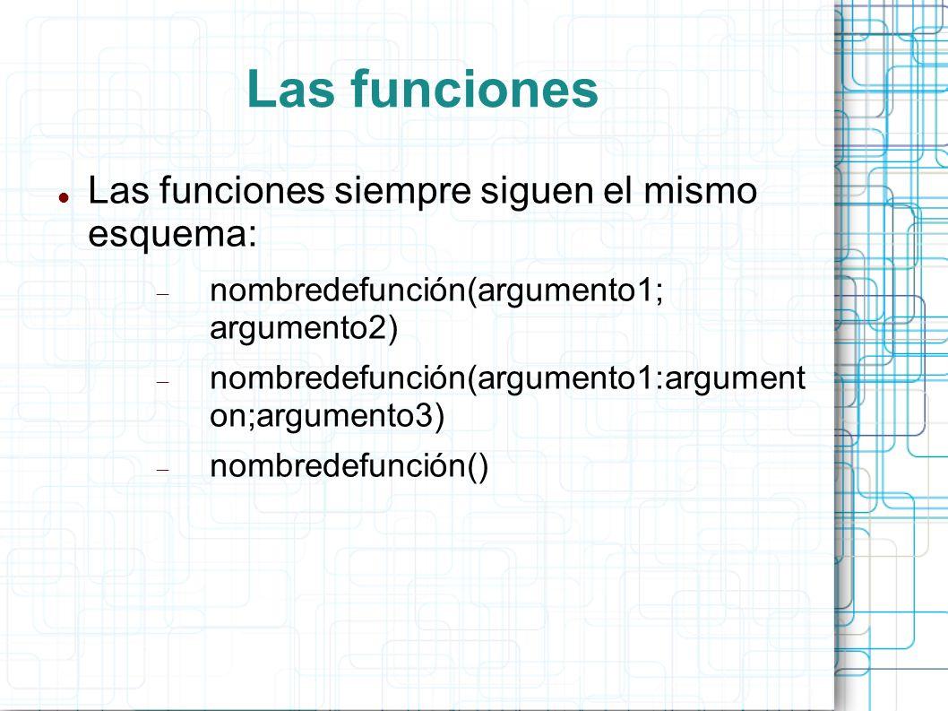 Las funciones Las funciones siempre siguen el mismo esquema: nombredefunción(argumento1; argumento2) nombredefunción(argumento1:argument on;argumento3