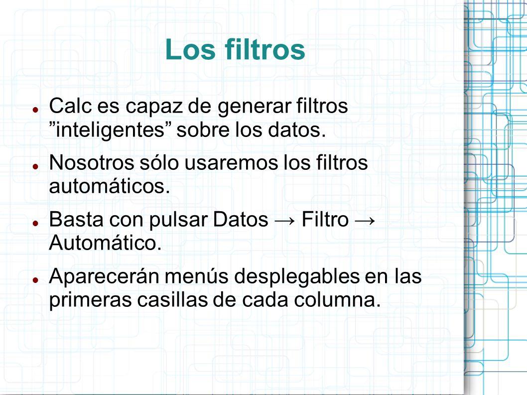 Los filtros Calc es capaz de generar filtros inteligentes sobre los datos. Nosotros sólo usaremos los filtros automáticos. Basta con pulsar Datos Filt