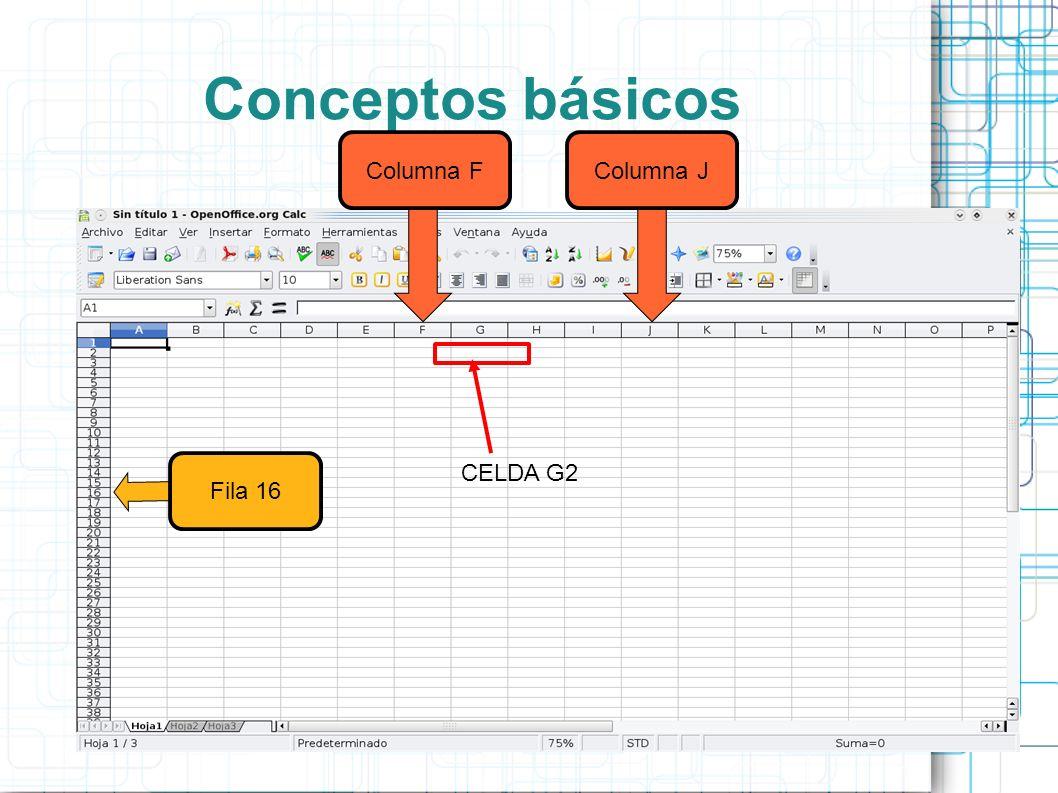 Conceptos básicos Columna FColumna JFila 16 CELDA G2