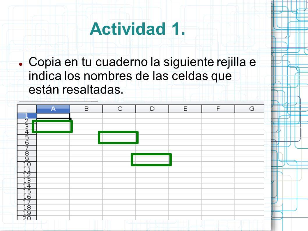 Actividad 1. Copia en tu cuaderno la siguiente rejilla e indica los nombres de las celdas que están resaltadas.