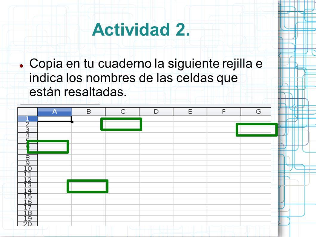 Actividad 2. Copia en tu cuaderno la siguiente rejilla e indica los nombres de las celdas que están resaltadas.