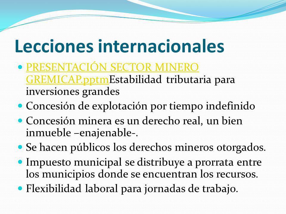 Lecciones internacionales PRESENTACIÓN SECTOR MINERO GREMICAP.pptmEstabilidad tributaria para inversiones grandes PRESENTACIÓN SECTOR MINERO GREMICAP.