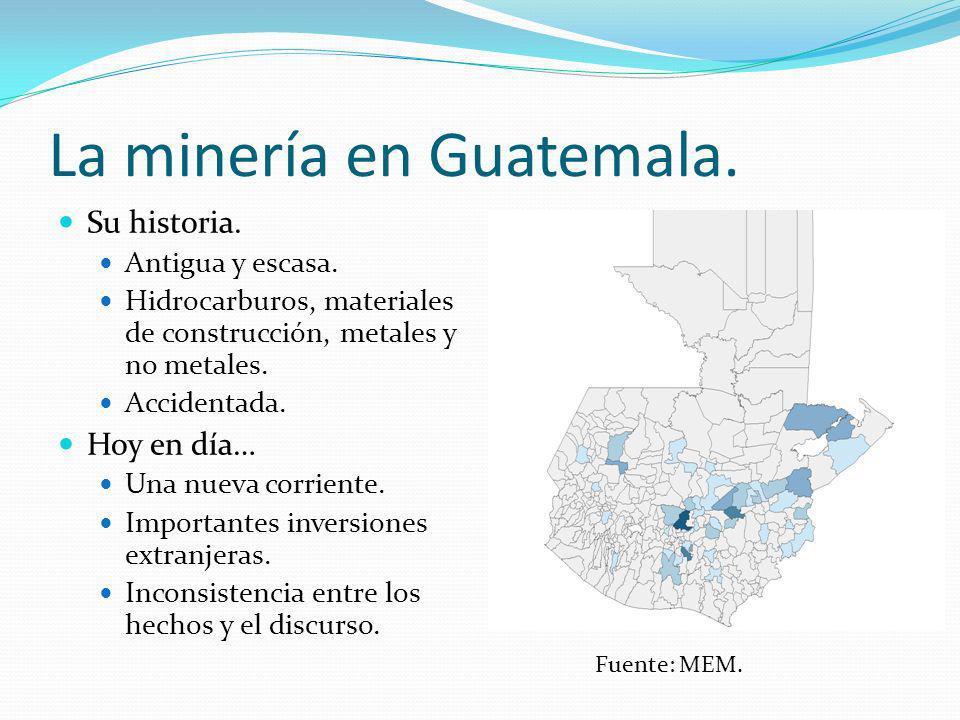 La minería en Guatemala. Su historia. Antigua y escasa. Hidrocarburos, materiales de construcción, metales y no metales. Accidentada. Hoy en día… Una