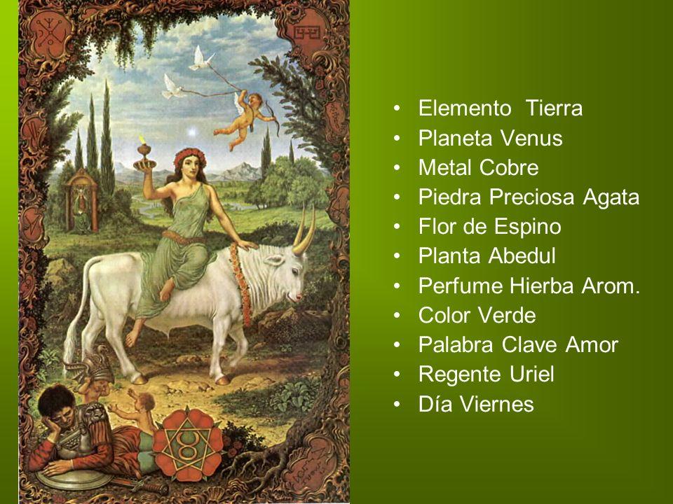 Elemento Tierra Planeta Venus Metal Cobre Piedra Preciosa Agata Flor de Espino Planta Abedul Perfume Hierba Arom. Color Verde Palabra Clave Amor Regen