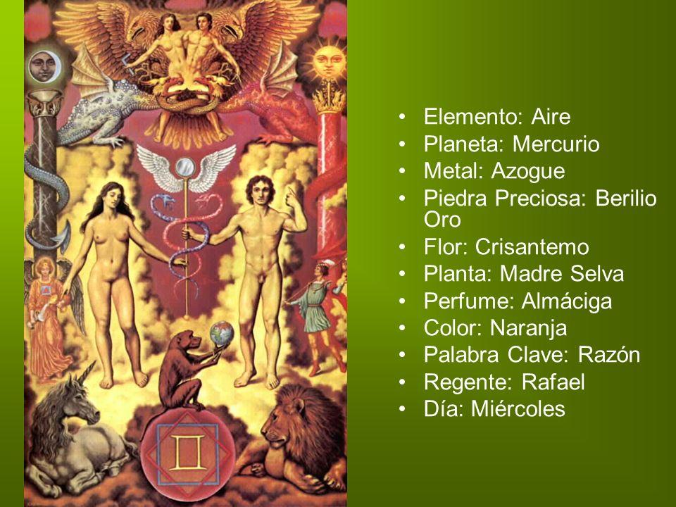 Elemento: Aire Planeta: Mercurio Metal: Azogue Piedra Preciosa: Berilio Oro Flor: Crisantemo Planta: Madre Selva Perfume: Almáciga Color: Naranja Pala