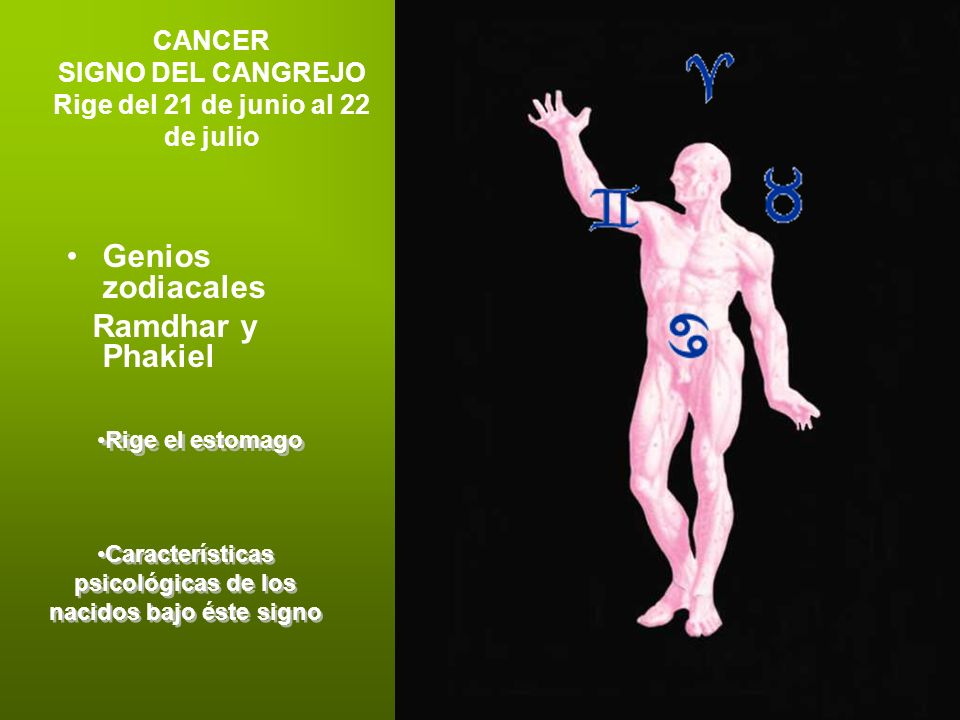 CANCER SIGNO DEL CANGREJO Rige del 21 de junio al 22 de julio Genios zodiacales Ramdhar y Phakiel Rige el estomago Características psicológicas de los