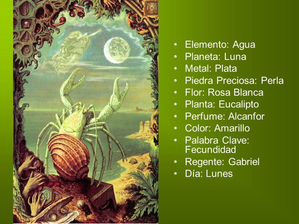 Elemento: Agua Planeta: Luna Metal: Plata Piedra Preciosa: Perla Flor: Rosa Blanca Planta: Eucalipto Perfume: Alcanfor Color: Amarillo Palabra Clave: