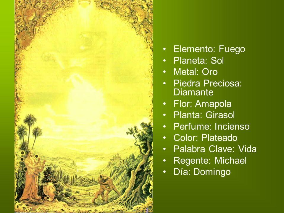 Elemento: Fuego Planeta: Sol Metal: Oro Piedra Preciosa: Diamante Flor: Amapola Planta: Girasol Perfume: Incienso Color: Plateado Palabra Clave: Vida
