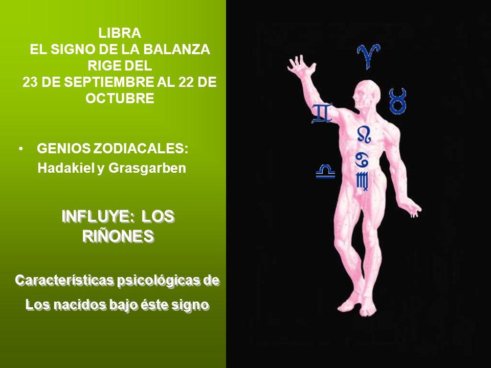 LIBRA EL SIGNO DE LA BALANZA RIGE DEL 23 DE SEPTIEMBRE AL 22 DE OCTUBRE GENIOS ZODIACALES: Hadakiel y Grasgarben INFLUYE: LOS RIÑONES Características