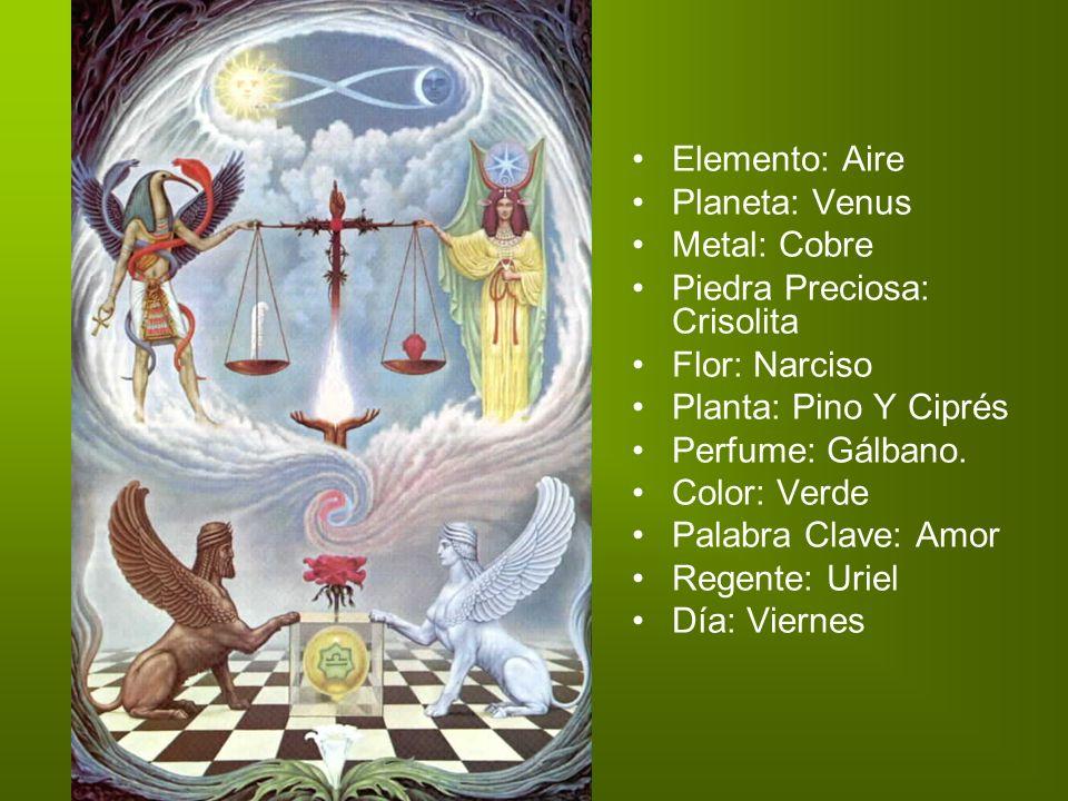 Elemento: Aire Planeta: Venus Metal: Cobre Piedra Preciosa: Crisolita Flor: Narciso Planta: Pino Y Ciprés Perfume: Gálbano. Color: Verde Palabra Clave