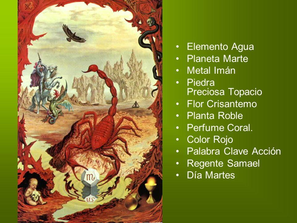 Elemento Agua Planeta Marte Metal Imán Piedra Preciosa Topacio Flor Crisantemo Planta Roble Perfume Coral. Color Rojo Palabra Clave Acción Regente Sam