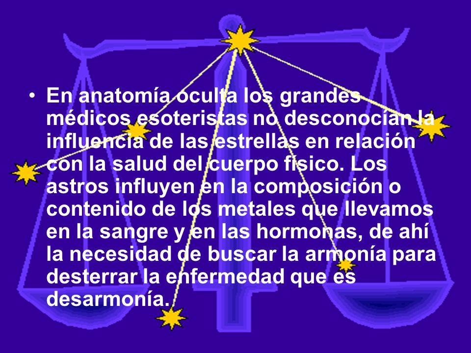 En anatomía oculta los grandes médicos esoteristas no desconocían la influencia de las estrellas en relación con la salud del cuerpo físico. Los astro