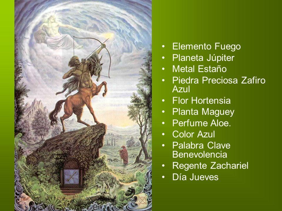 Elemento Fuego Planeta Júpiter Metal Estaño Piedra Preciosa Zafiro Azul Flor Hortensia Planta Maguey Perfume Aloe. Color Azul Palabra Clave Benevolenc