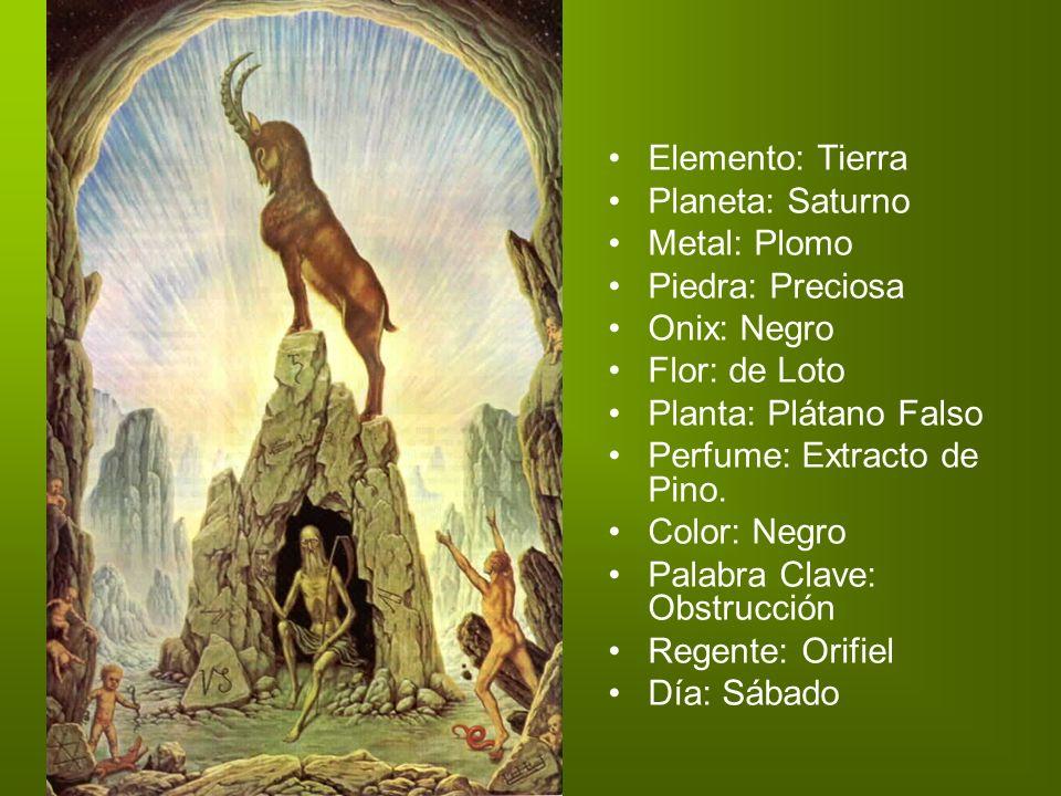 Elemento: Tierra Planeta: Saturno Metal: Plomo Piedra: Preciosa Onix: Negro Flor: de Loto Planta: Plátano Falso Perfume: Extracto de Pino. Color: Negr