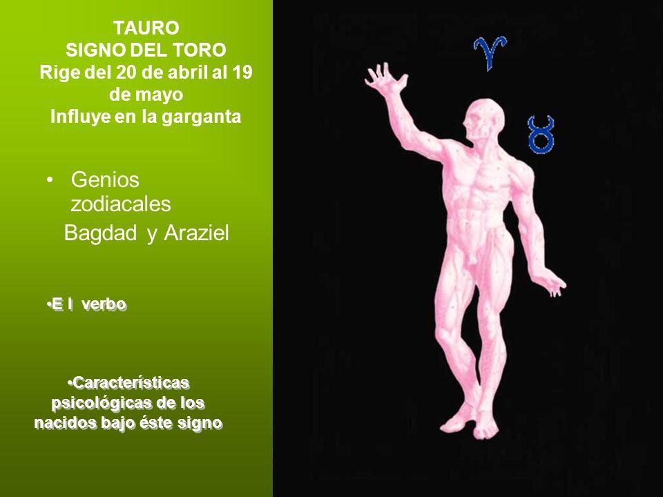 TAURO SIGNO DEL TORO Rige del 20 de abril al 19 de mayo Influye en la garganta Genios zodiacales Bagdad y Araziel E l verbo Características psicológic