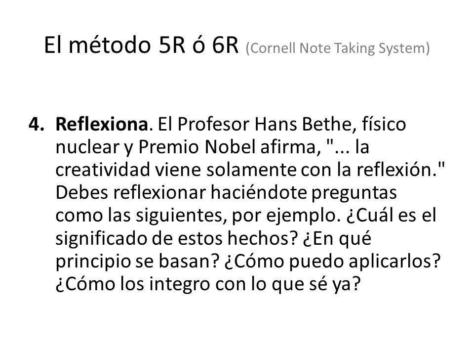 4.Reflexiona. El Profesor Hans Bethe, físico nuclear y Premio Nobel afirma,