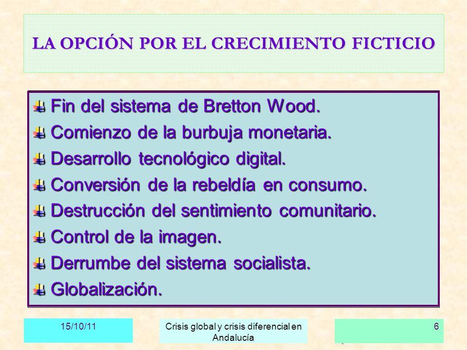 15/10/11 Crisis global y crisis diferencial en Andalucía 7 SUS EFECTOS: EL DESACOPLAMIENTO Escisión entre sistema financiero, sistema productivo, necesidades sociales y recursos naturales.