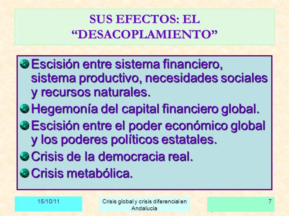 15/10/11 Crisis global y crisis diferencial en Andalucía 8 LA CRISIS DEL CRECIMIENTO FICTICIO La crisis de la subprime en EE.UU.