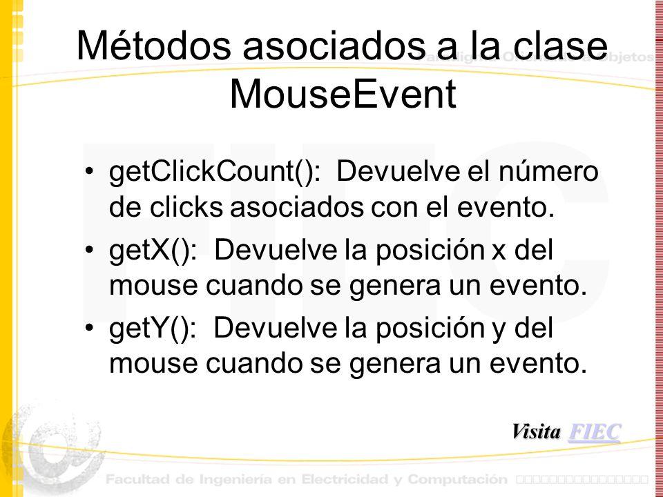 Métodos asociados a la clase MouseEvent getClickCount(): Devuelve el número de clicks asociados con el evento. getX(): Devuelve la posición x del mous