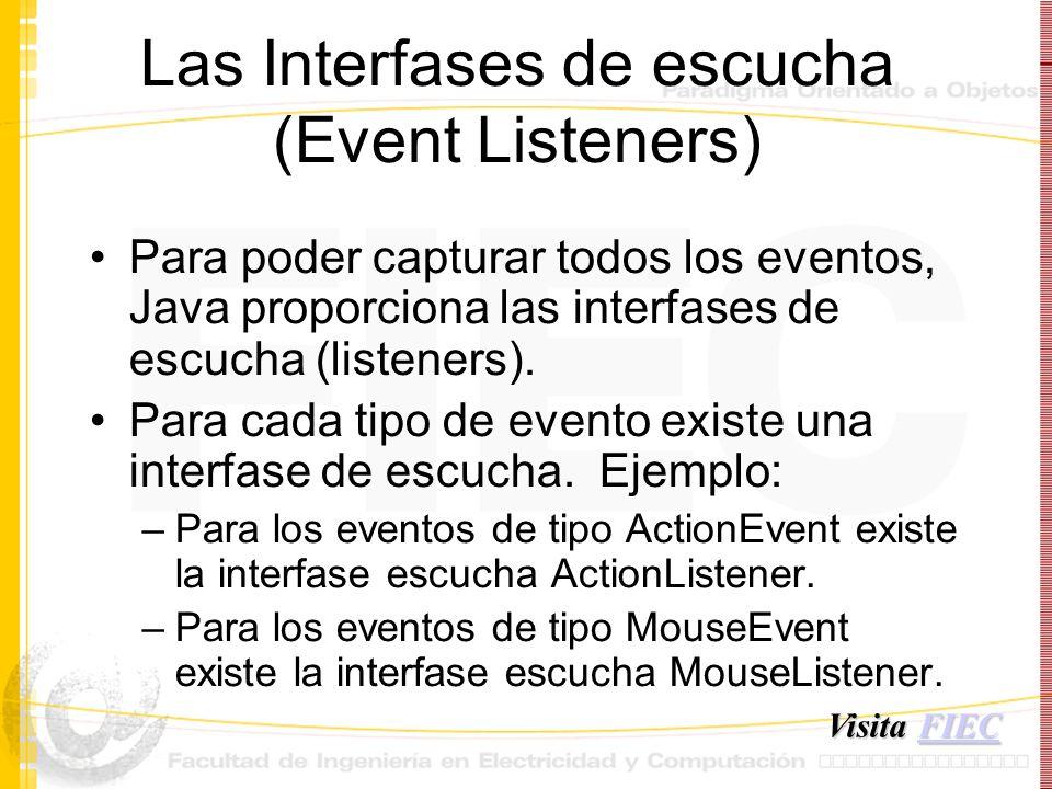 Las Interfases de escucha (Event Listeners) Para poder capturar todos los eventos, Java proporciona las interfases de escucha (listeners). Para cada t