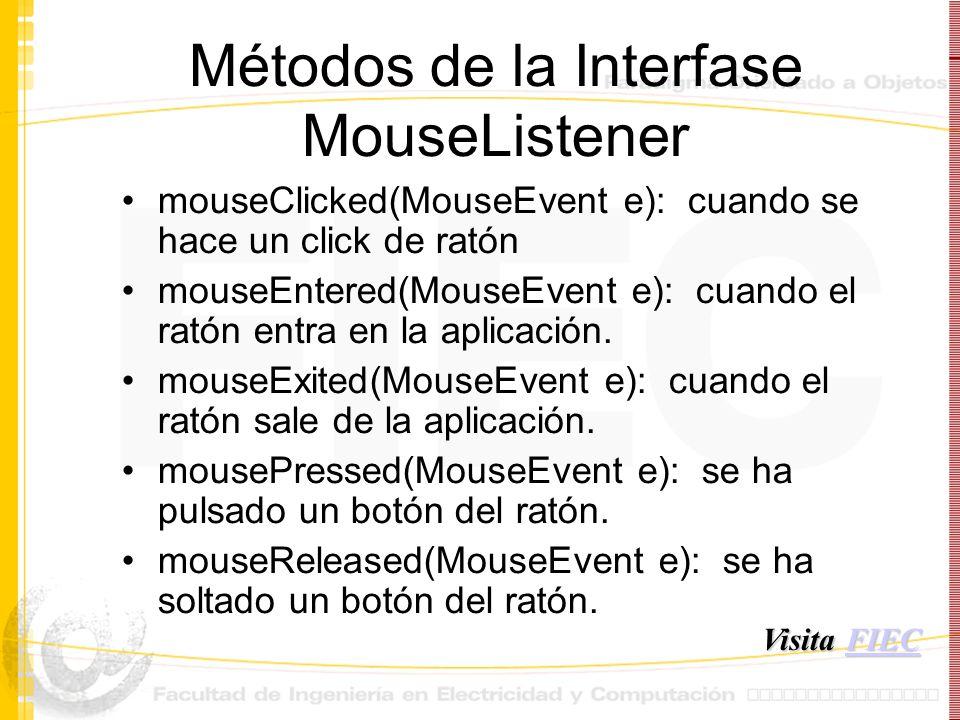 Métodos de la Interfase MouseListener mouseClicked(MouseEvent e): cuando se hace un click de ratón mouseEntered(MouseEvent e): cuando el ratón entra e