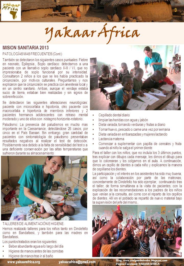 Yakaar África MISION SANITARIA 2013 PATOLOGÍAS MAS FRECUENTES (Cont.) También se detectaron los siguientes casos puntuales: Fiebre en neonato, Epileps