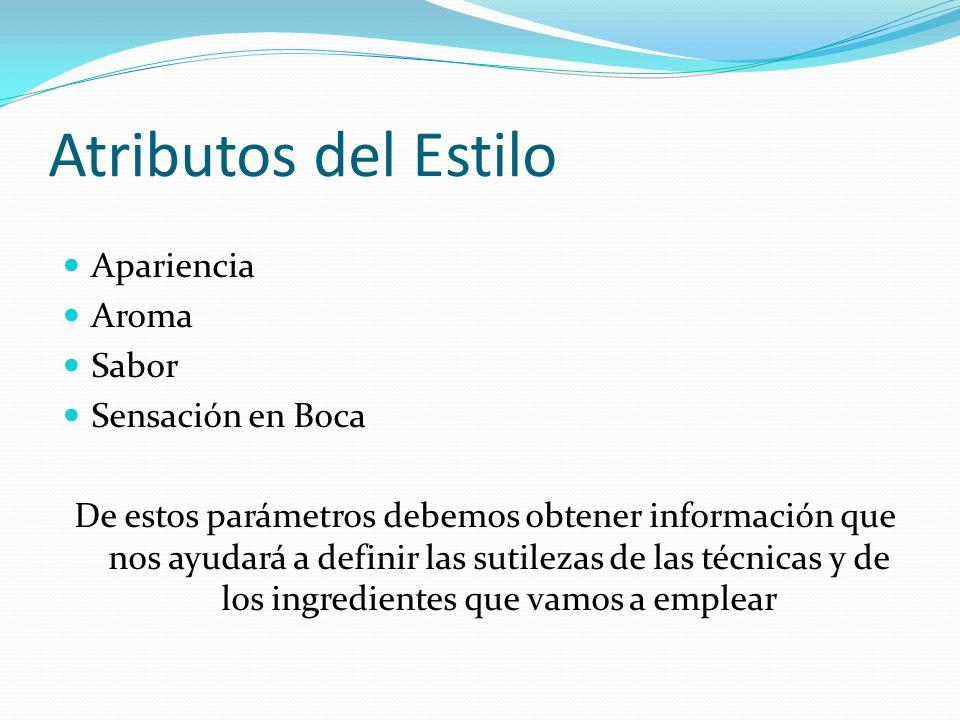 Atributos del Estilo Apariencia Aroma Sabor Sensación en Boca De estos parámetros debemos obtener información que nos ayudará a definir las sutilezas