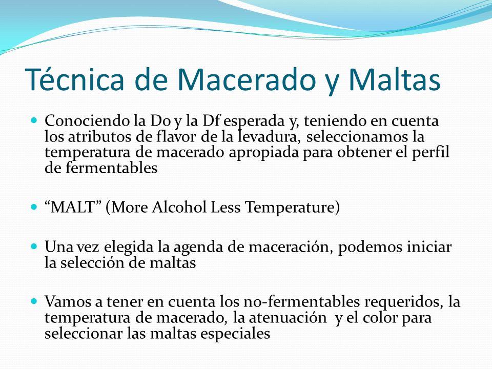 Técnica de Macerado y Maltas Conociendo la Do y la Df esperada y, teniendo en cuenta los atributos de flavor de la levadura, seleccionamos la temperat