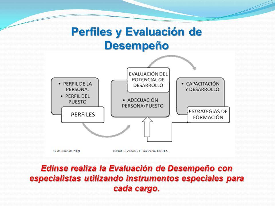 Perfiles y Evaluación de Desempeño Edinse realiza la Evaluación de Desempeño con especialistas utilizando instrumentos especiales para cada cargo.
