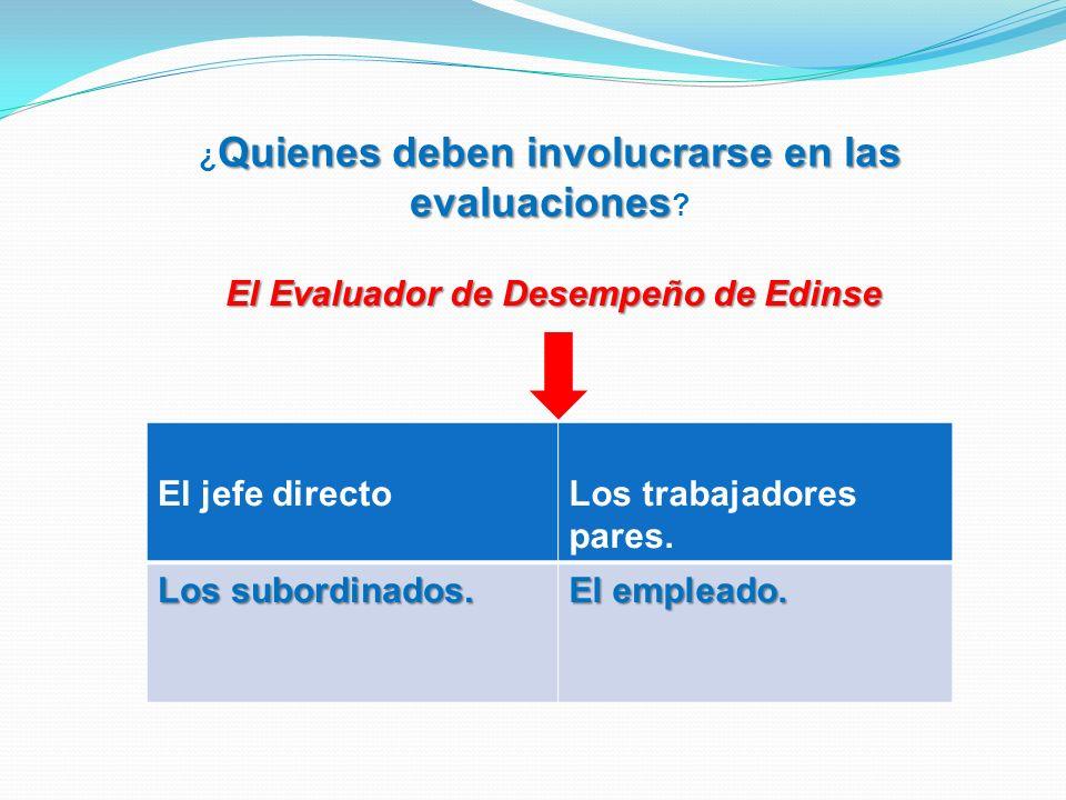 Quienes deben involucrarse en las evaluaciones ¿ Quienes deben involucrarse en las evaluaciones ? El jefe directoLos trabajadores pares. Los subordina