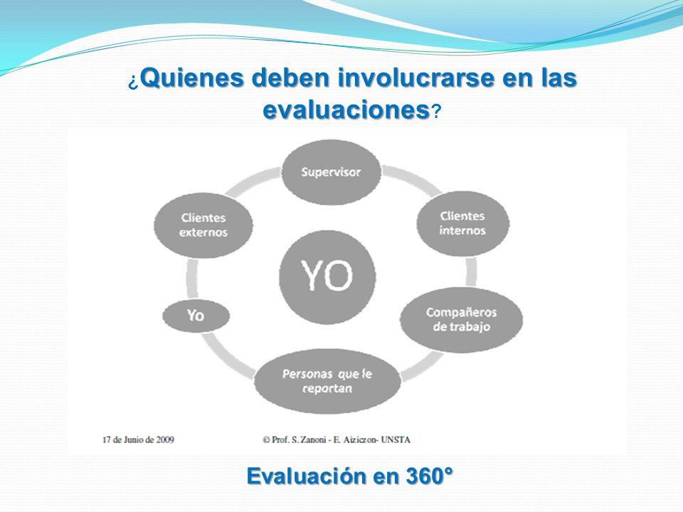 Evaluación en 360° Quienes deben involucrarse en las evaluaciones ¿ Quienes deben involucrarse en las evaluaciones ?