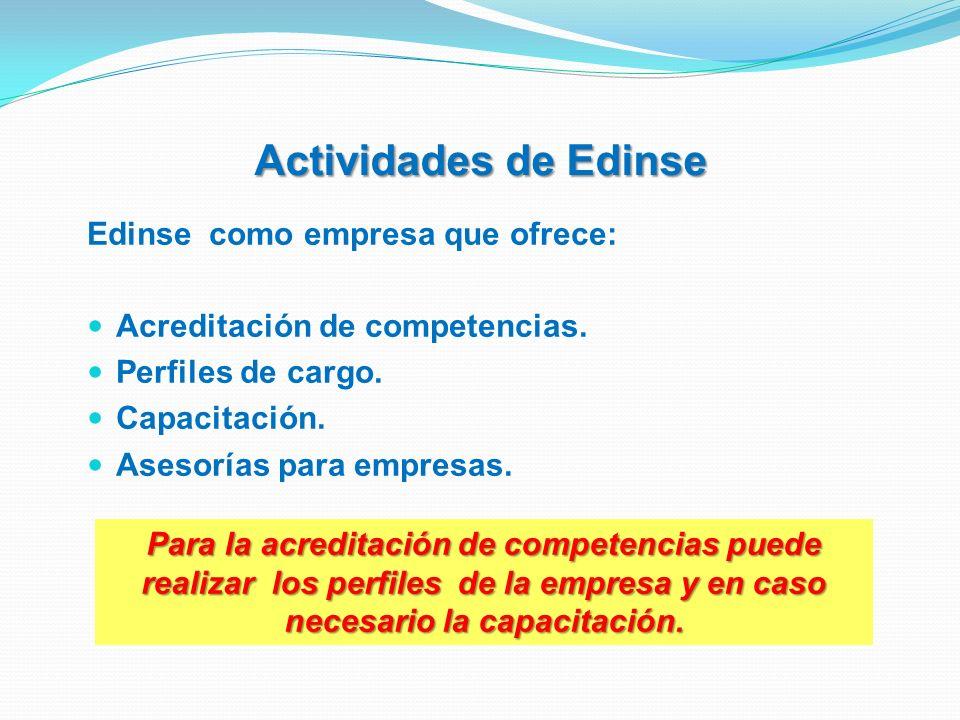Actividades de Edinse Edinse como empresa que ofrece: Acreditación de competencias. Perfiles de cargo. Capacitación. Asesorías para empresas. Para la