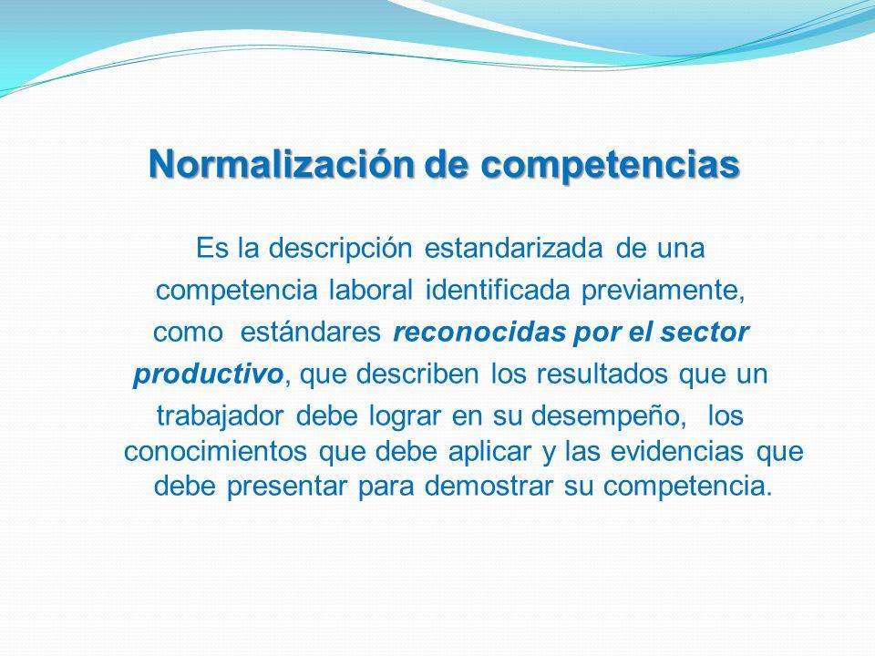 Es la descripción estandarizada de una competencia laboral identificada previamente, como estándares reconocidas por el sector productivo, que describ