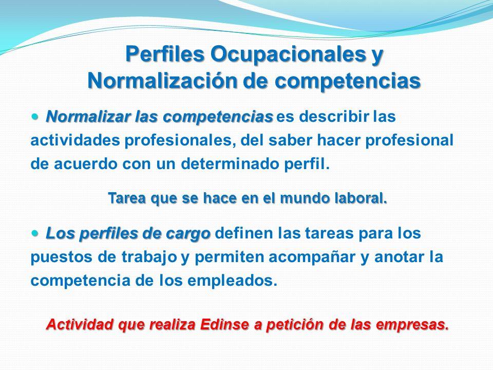 Normalizar las competencias Normalizar las competencias es describir las actividades profesionales, del saber hacer profesional de acuerdo con un dete