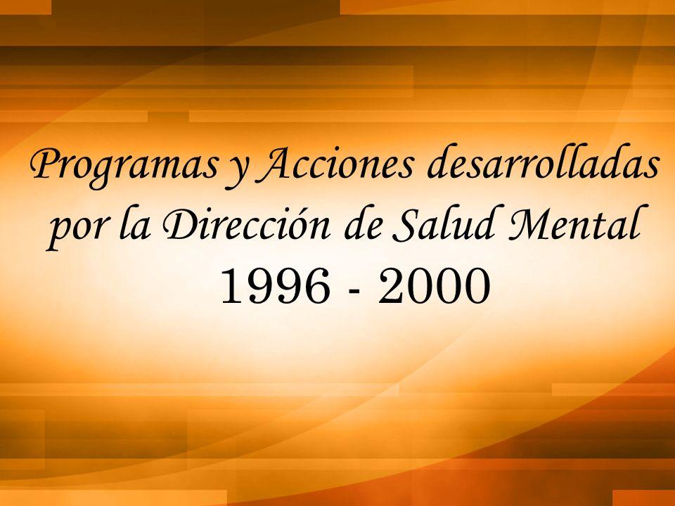 Programas y Acciones desarrolladas por la Dirección de Salud Mental 1996 - 2000
