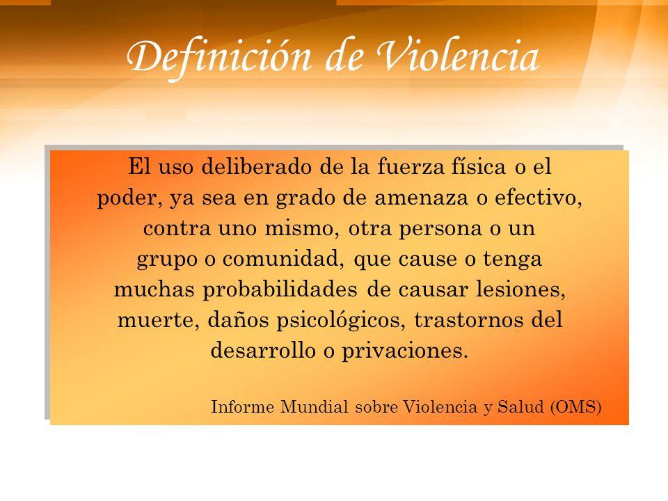 Definición de Violencia El uso deliberado de la fuerza física o el poder, ya sea en grado de amenaza o efectivo, contra uno mismo, otra persona o un g
