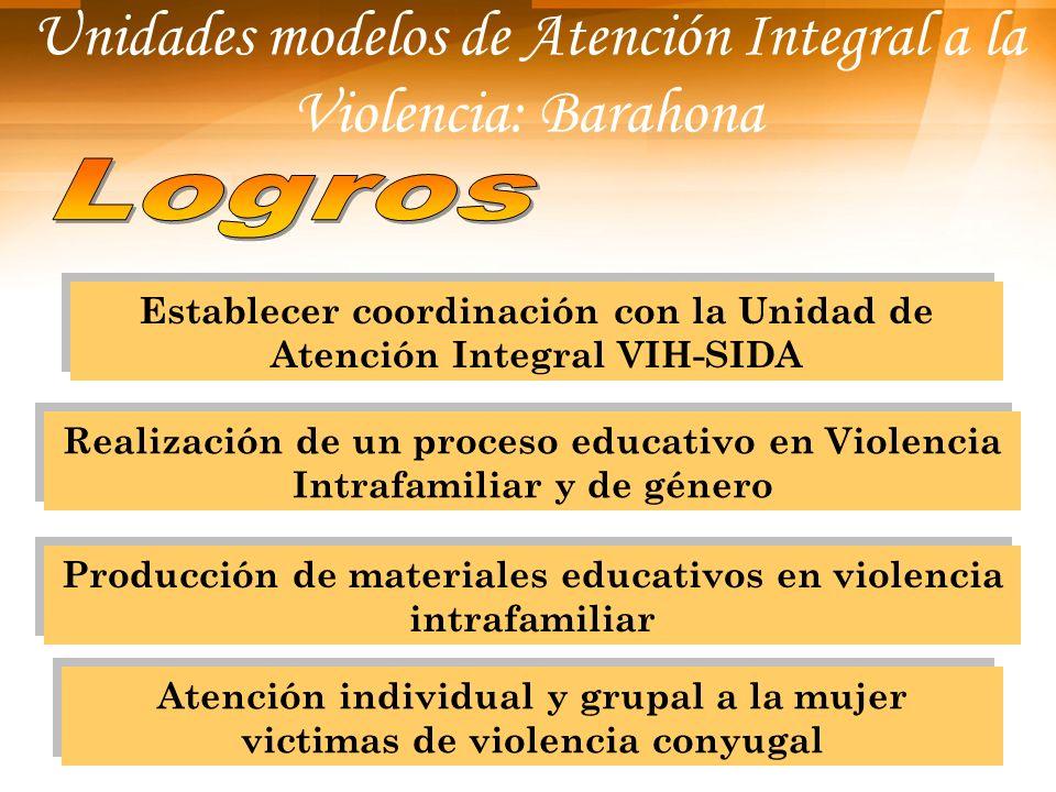 Unidades modelos de Atención Integral a la Violencia: Barahona Establecer coordinación con la Unidad de Atención Integral VIH-SIDA Realización de un p
